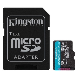 KINGSTON Memóriakártya 128GB MicroSDXC Canvas Go Plus 170R A2 U3 V30 + Adapter