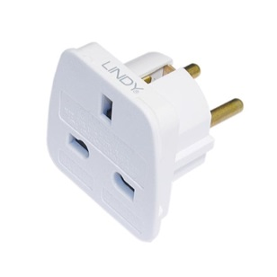 LINDY Travel adapter UK to Euro, fehér
