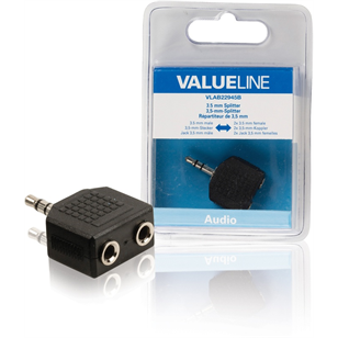 VALUELINE adapter Stereo audio kábel 3,5mm jack apa - 2x 3,5mm anya 0,20m