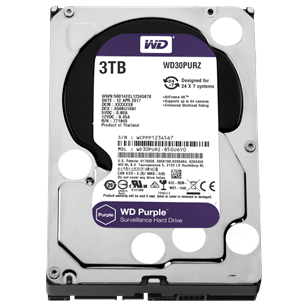 "WD HDD SATA3 Purple 3.5"" 3TB (3000GB) 64MB"